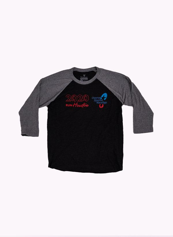 Houston Marathon Men's Grey/Black 26.2 3/4 Sleeve Shirt