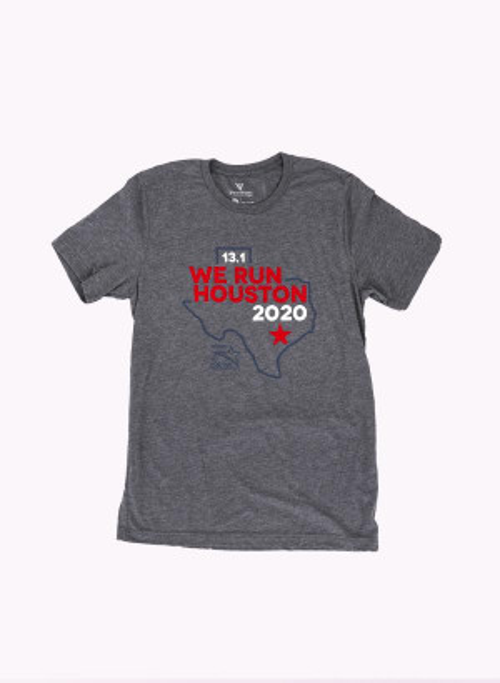 Houston Marathon Men's Grey/Blue 13.1 Short Sleeve Shirt