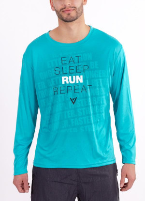 "Men's ""Eat Sleep Run Repeat"" Long Sleeve Crew Neck Shirt"