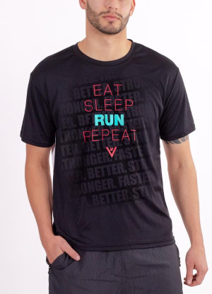 "Men's ""Eat, Sleep, Run, Repeat"" Short Sleeve Crew Neck Shirt"
