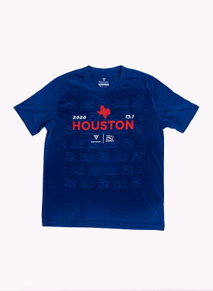 Houston Marathon Men's Blue 13.1 Short Sleeve Shirt