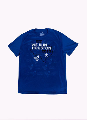 Houston Marathon Men's Blue/White 26.2 Short Sleeve Shirt
