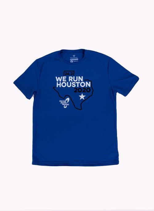 Houston Marathon Men's Blue/White 26.2 Short Sleeve Shirt