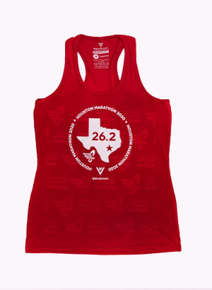 Houston Marathon Women's Red 26.2 Singlet/Tank