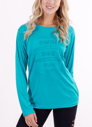 "Women's ""Swim, Bike Run"" Long Sleeve"