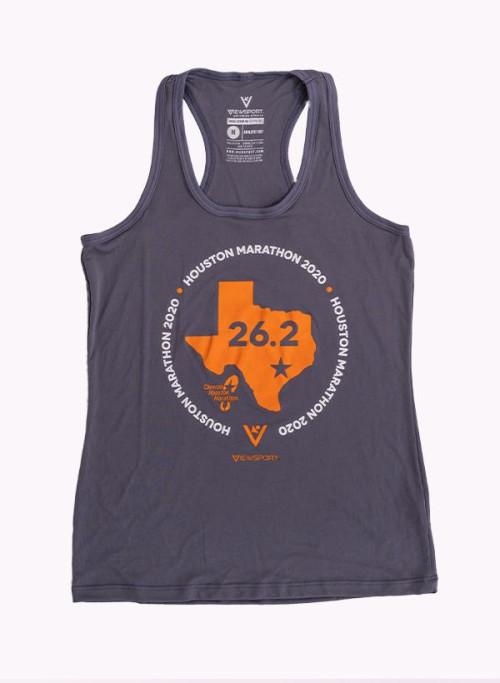 Houston Marathon Women's Grey/Orange 26.2 Singlet/Tank