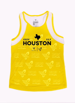 Houston Marathon Unisex 26.2 Yellow/White Singlet/Tank