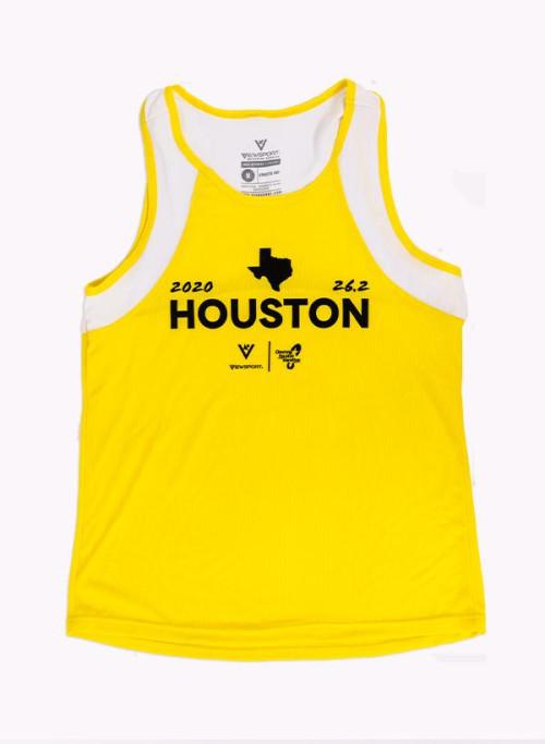 Houston Marathon Unisex 26.2 Yellow/White Singlet/Tank