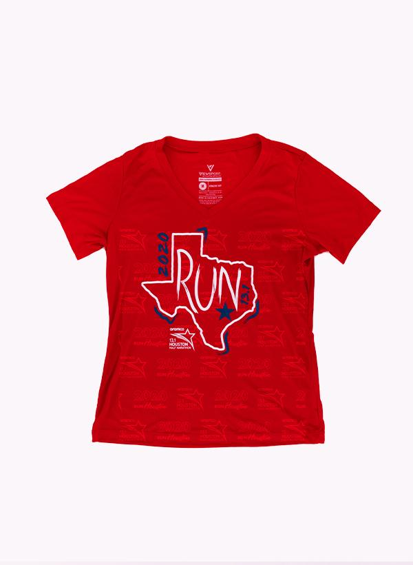 Houston Marathon Women's Red Run 13.1 Short Sleeve Shirt