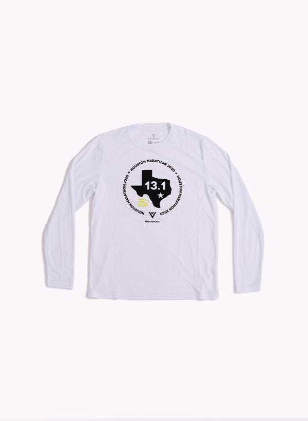 Houston Marathon Men's White 13.1 Long Sleeve Shirt