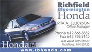 Richfield Bloomington Honda Business Card