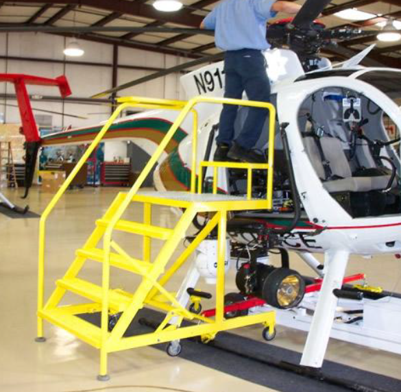 100 Series Helicopter Maintenance Stand modified with Step up