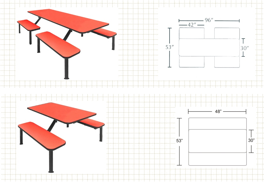 """Island Frame Cafeteria Tables Overall Size - 30""""W Tables"""