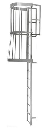 Fixed Steel Caged Ladder