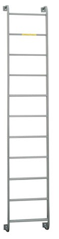Fixed steel ladder with side step