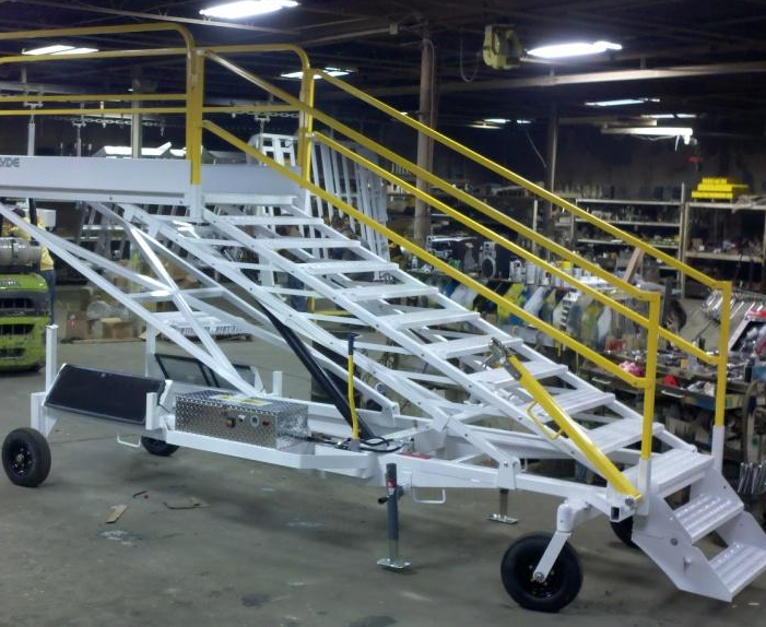 Custom Aircraft Maintenance Stand with rough terrain casters and solar power