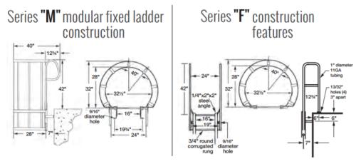 Fixed Steel Ladders with Walk Thru Handrails