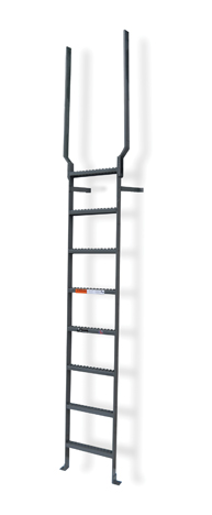 Steel Vertical Wall Mount Ladders With Rail Extensions