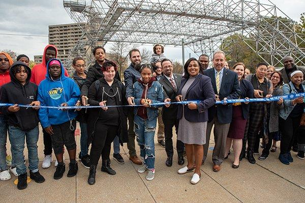 Mayor Warren Cuts Ribbon on Downtown Play Walk