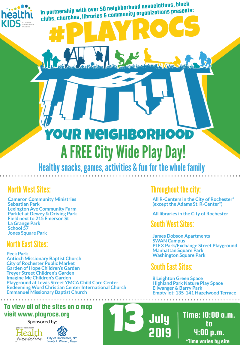 2019 PlayROCs Your Neighborhood yellow green and teal flyer listing locations