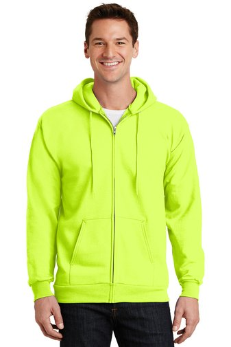 Safety Yellow Port & Company® - Essential Fleece Full-Zip Hooded Sweatshirt