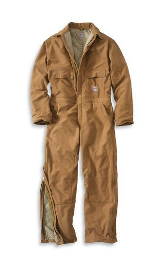 Carhartt Men's Brown Flame-Resistant Duck Quilt-Lined Coverall