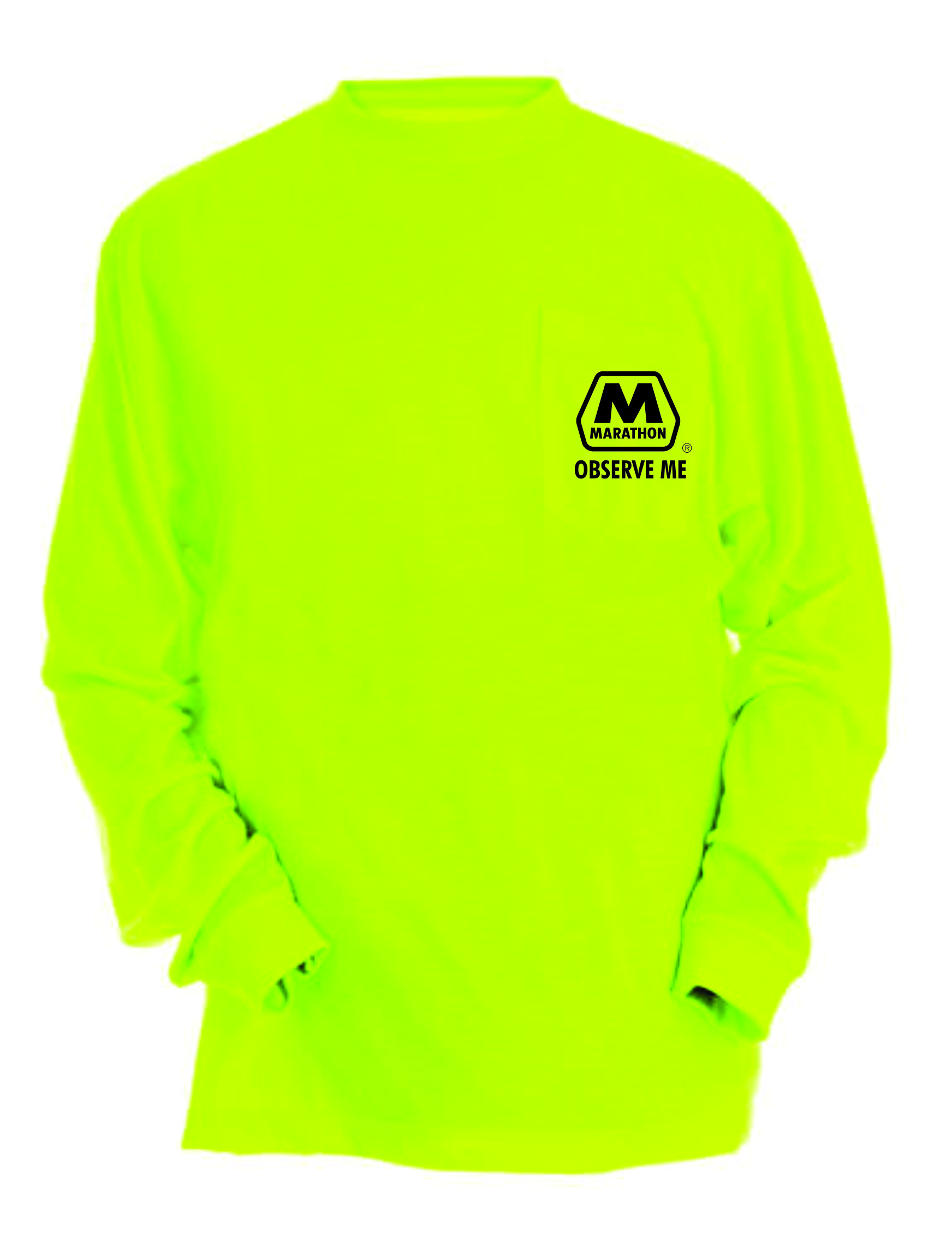 Safety Yellow Pocket Long Sleeve Front Left Chest Logo