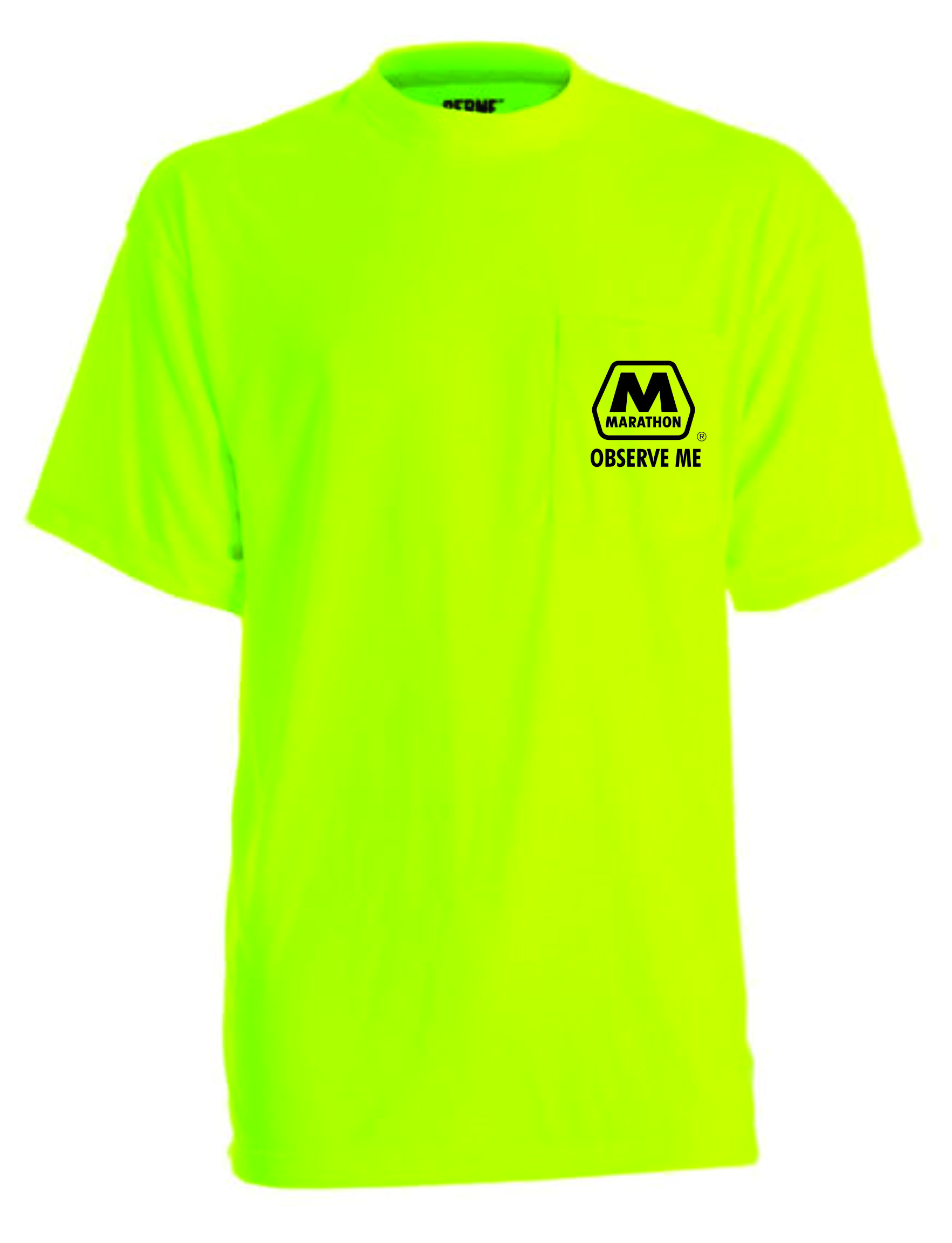 Safety Yellow Pocket Tee Shirt Front Left Chest Logo