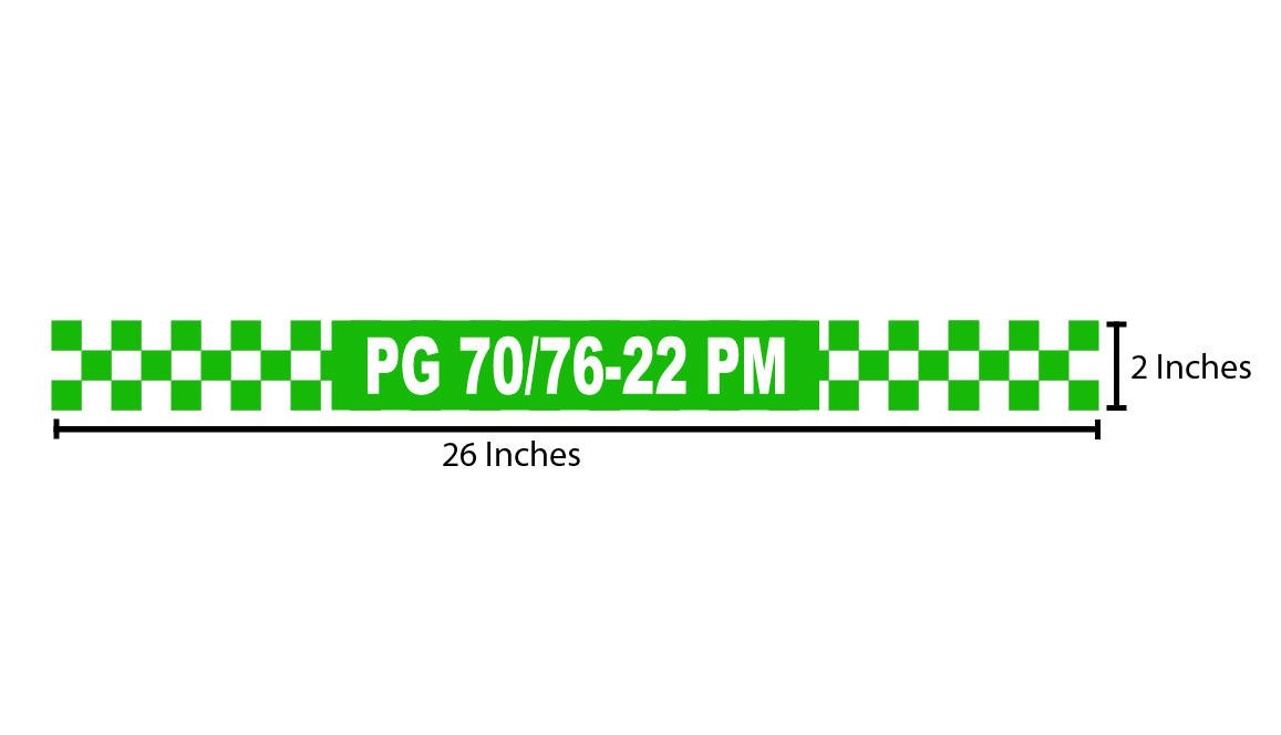 PG 70/76-22 PM Reflective Sticker - Green Checkers