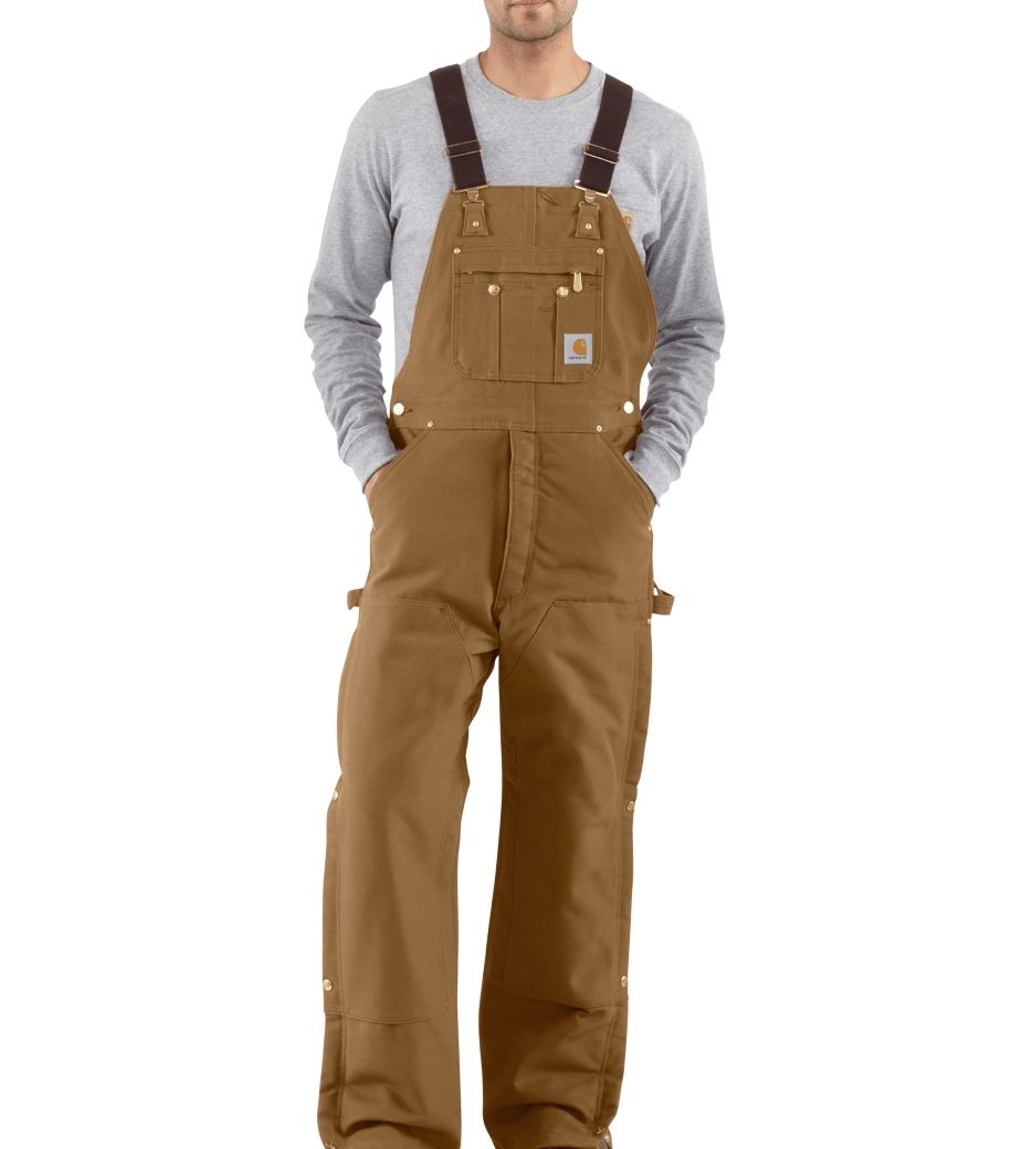 MEN'S DUCK BIB OVERALL/QUILT LINED COTTON DUCK, POLY/NYLON LINING