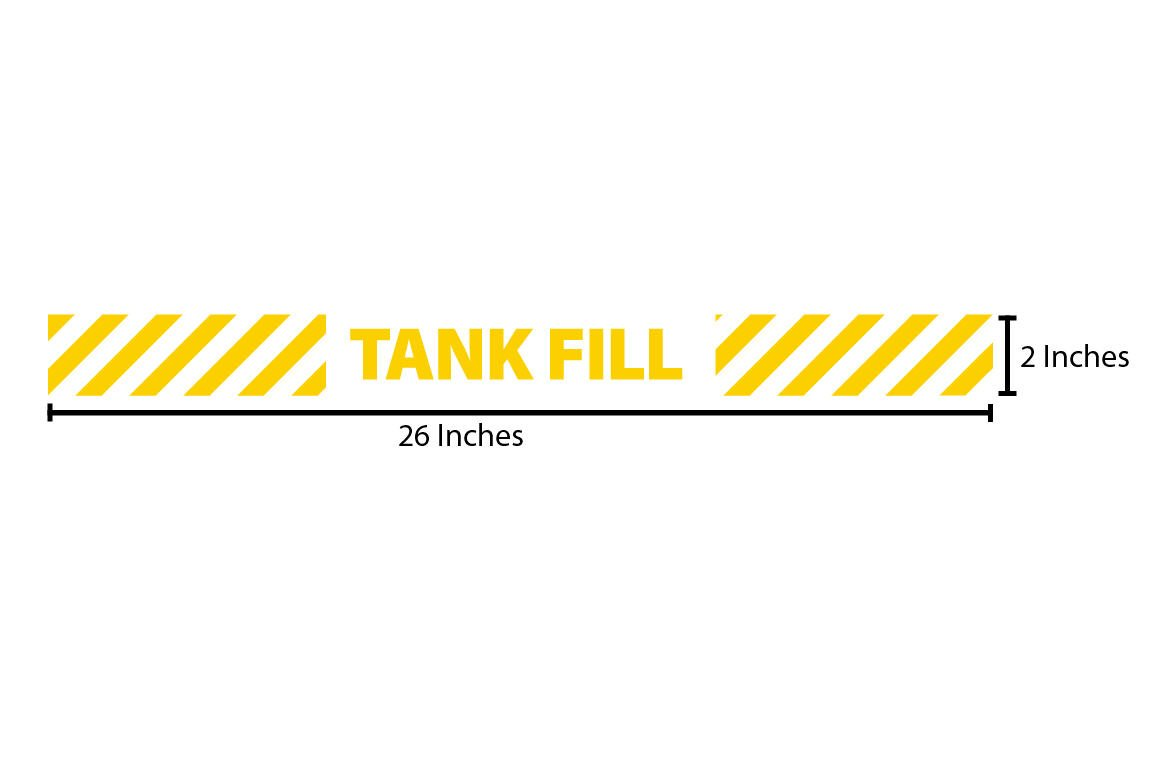 Tank Fill Reflective Sticker - Yellow Stripes