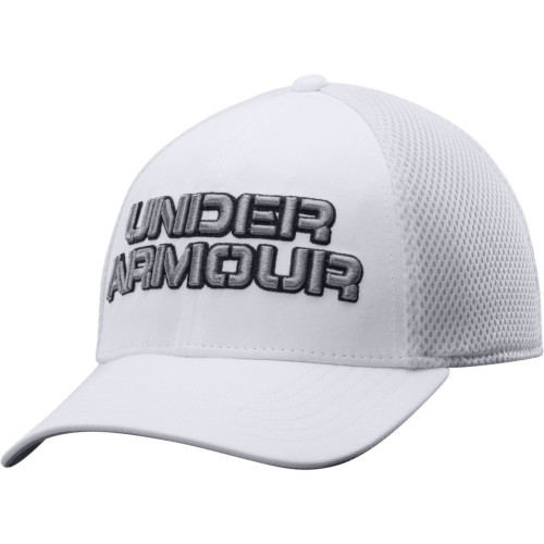 UA White Training Mesh Stretch Fit Cap