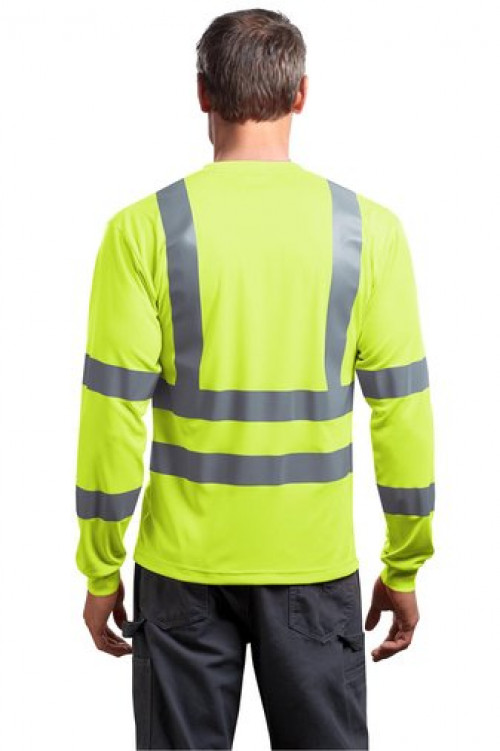 Class 3 Long Sleeve Snag-Resistant Reflective T-Shirt - CS409 - Logo Horizontal Back
