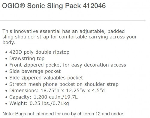 Sonic Sling Pack - 412046 - Grey/Black