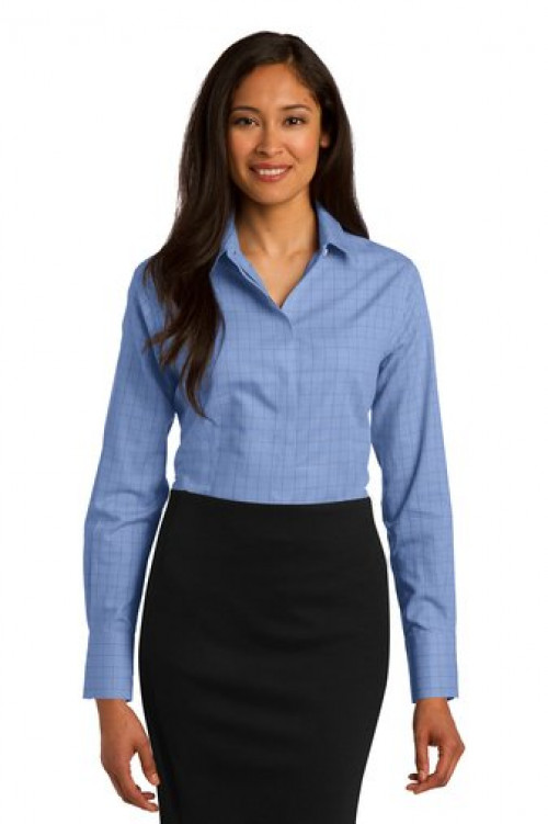 Ladies Windowpane Plaid Non-Iron Shirt - RH71