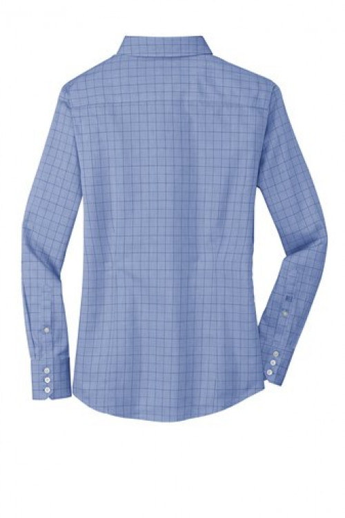 Ladies Windowpane Plaid Non-Iron Shirt - RH71