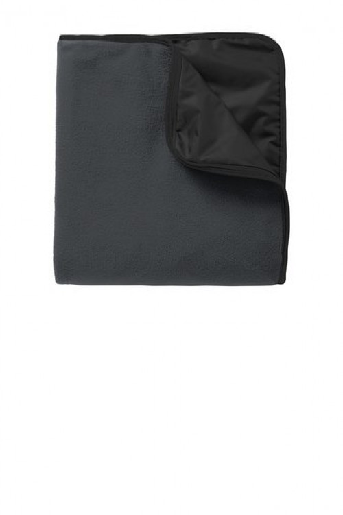 Fleece & Poly Travel Blanket - TB850 - Lead Grey/Black