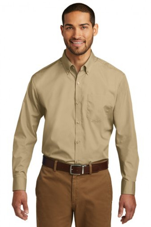 Port Authority® Long Sleeve Carefree Poplin Shirt - W100