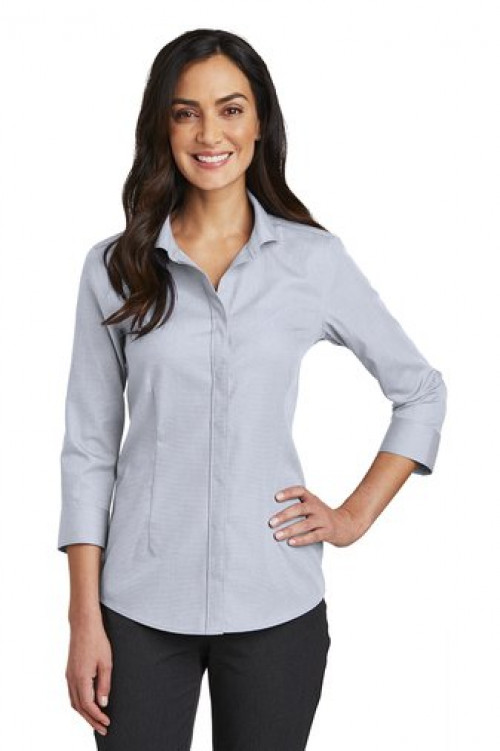 Red House® Ladies 3/4-Sleeve Nailhead Non-Iron Shirt - RH690 - Ice Gray