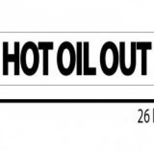 Hot Oil Out Reflective Sticker - Black Lettering