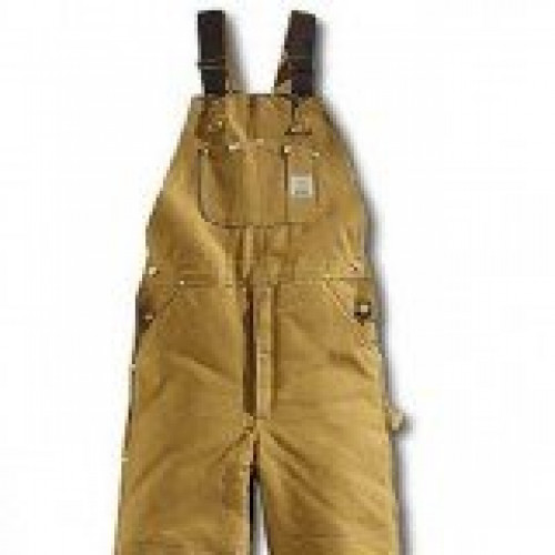 Carhartt R03 Brown Arctic Quilt Lined Duck Bib Overall