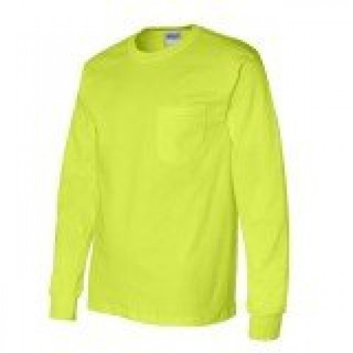 Long Sleeve Safety Yellow T-Shirt 50/50 Cotton/Poly with Pocket