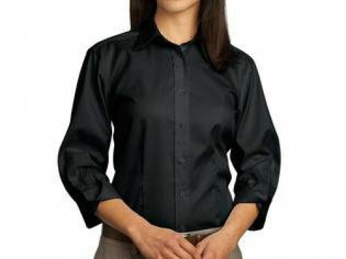 Red House Ladies 3/4-Sleeve Dobby Non-Iron Button-Down Shirt