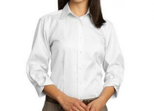 Red House Ladies 3/4-Sleeve Dobby Non-Iron Button-Down Shirt
