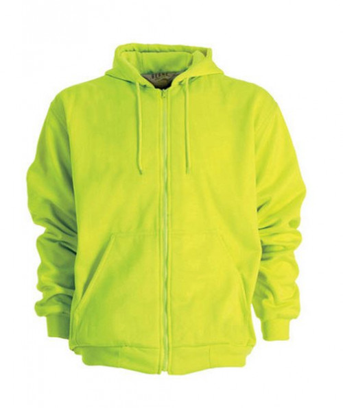 Safety Yellow Midweight Hooded Zip-Front Sweatshirt