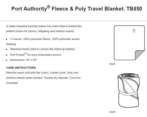 Fleece & Poly Travel Blanket - TB850 - Lead Grey/Black