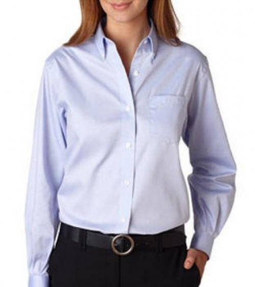 Van Heusen Ladies' Long-Sleeve Blended Pinpoint Oxford