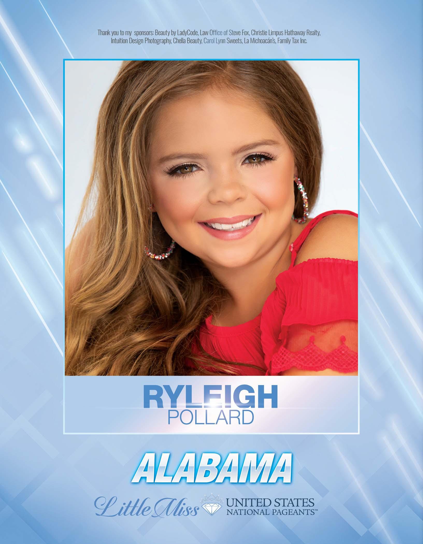 Ryleigh Pollard Little Miss Alabama United States - 2021