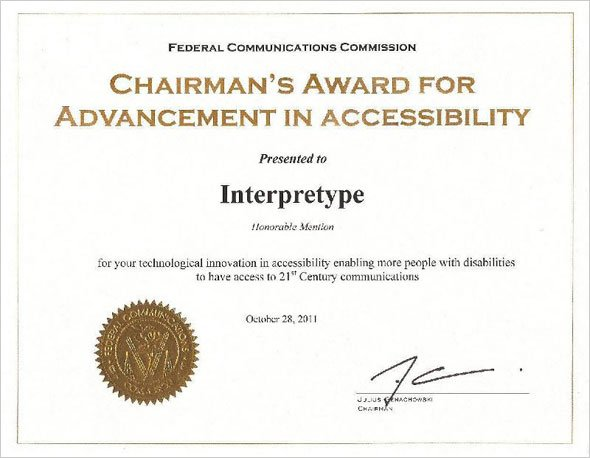 Chairman's Award for Advancement in Accessibility Certificate