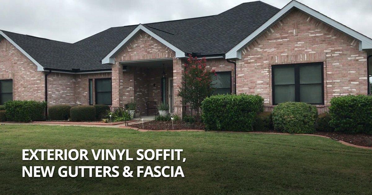 Exterior Vinyl Soffit, New Gutters & Fascia